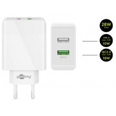Goobay Strömadapter med 2xUSB Quick Charge QC3.0 28W 2A